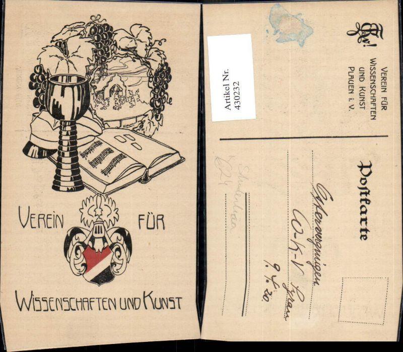 430232,Studentika Plauen Verein für Wissenschaft u. Kunst Wappen Kelch Wein Buch
