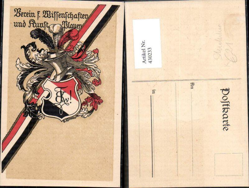 430233,Künstler Ak Studentika G. Kühnel Plauen Verein für Wissenschaft u. Kunst Wappen