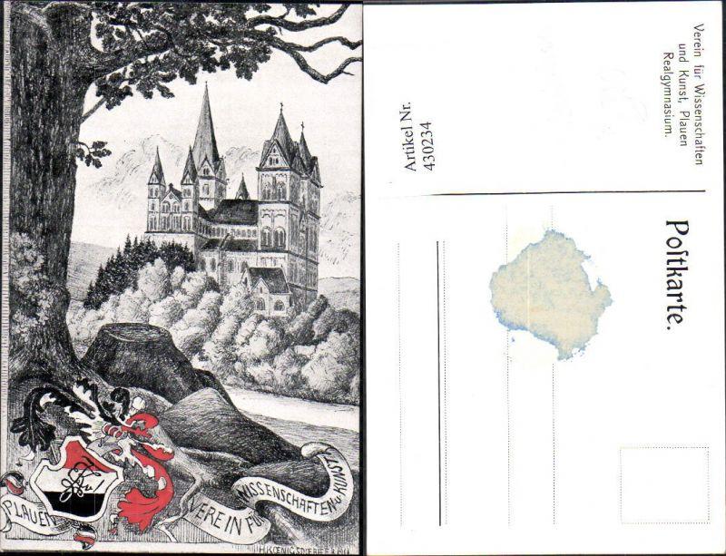 430234,Künstler Ak H. Königsdorfer Plauen Studentika Verein für Wissenschaft u. Kunst Schloss 0
