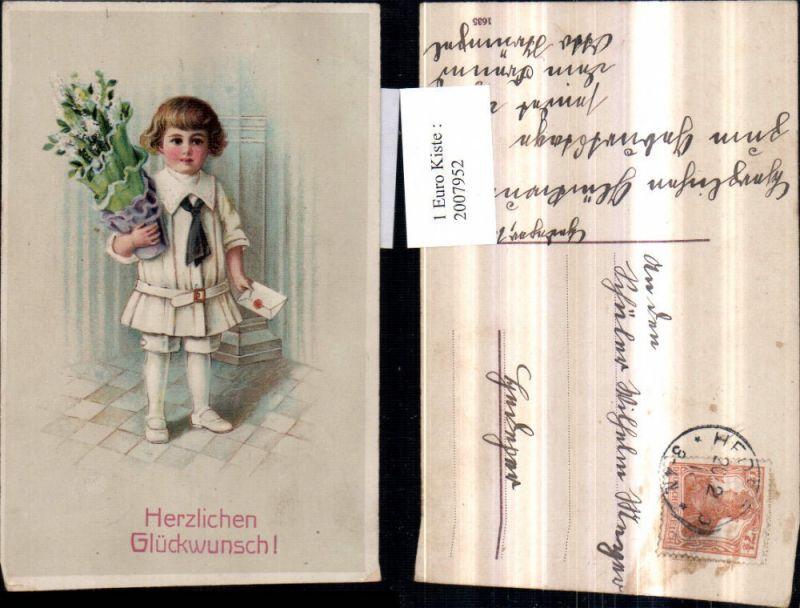 2007952,Künstler AK Glückwunsch Kind m. Brief Blumenstock Blumen