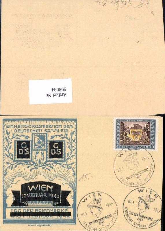 598084,Ludwig Hesshaimer Ganzsache Einheitsorganisation der Deutschen Sammler 1943 Tag der Briefmarke Überdruck 0