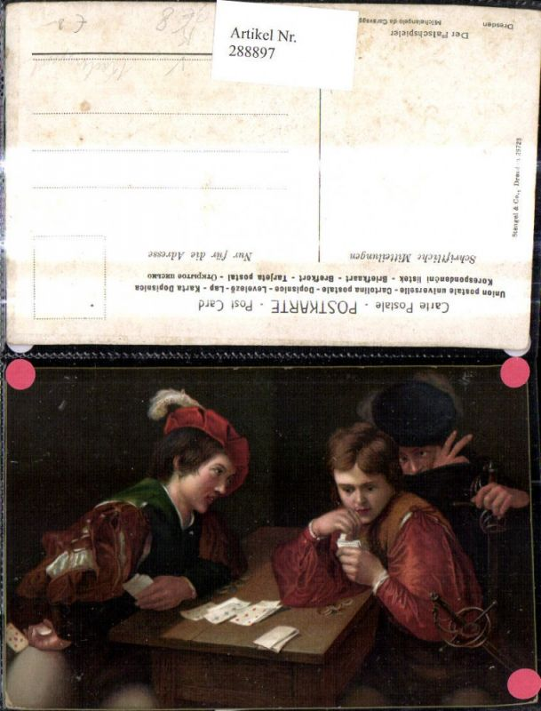 288897,Künstler Ak Michelangelo de Caravaggio Der Falschspieler Männer Kartenspiel Spiel Spiele pub Stengel Co 29723