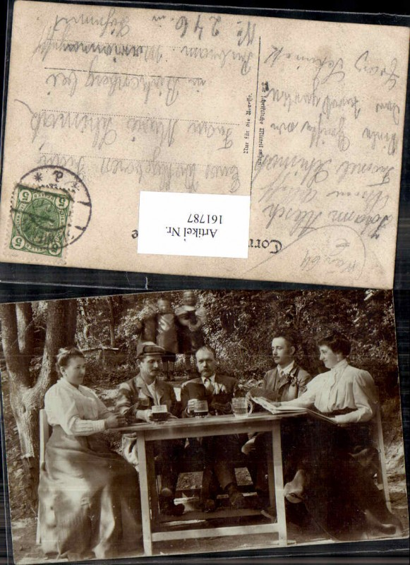 161787,Fotokarte Familie am Tisch m. Bier Beer Biergläser Alkohol 1900 0