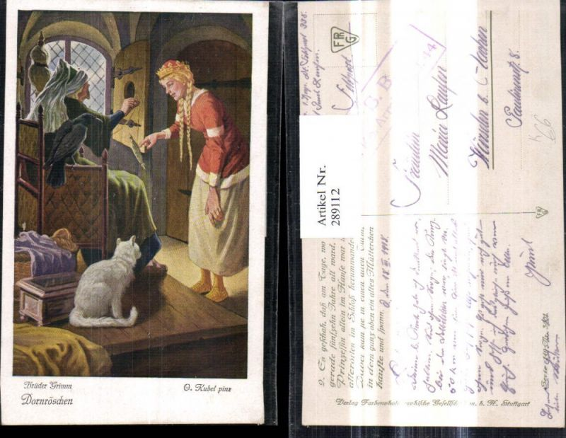 289112,Künstler Ak Otto Kubel Brüder Grimm Dornröschen Spindel Katze Märchen