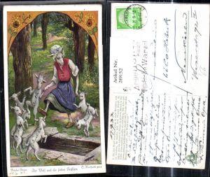 289152,Künstler Ak O. Herrfurth Brüder Grimm Der Wolf u. d. sieben Geißlein Märchen