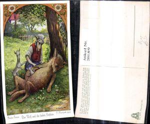 289189,Künstler Ak O. Herrfurth Brüder Grimm Der Wolf u. d. sieben Geißlein Märchen