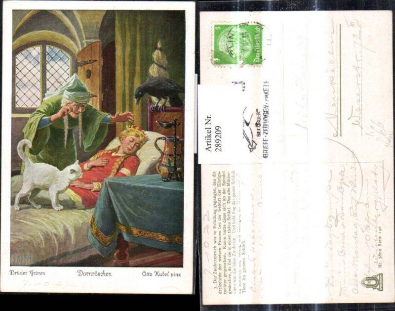 289209,Künstler Ak Otto Kubel Brüder Grimm Dornröschen Märchen Katze