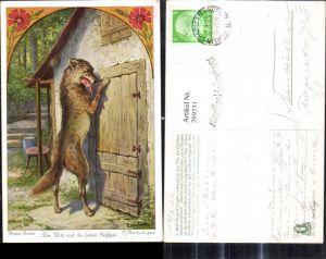 289231,Künstler Ak O. Herrfurth Brüder Grimm Der Wolf u. d. sieben Geißlein Märchen