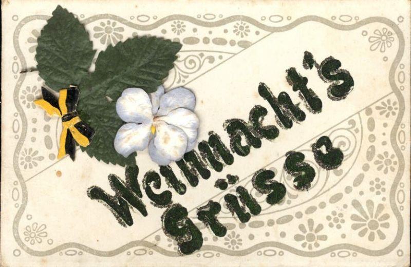 289584,Material Karte Handgemacht Weihnachtsgrüße Blatt Blüte Schleife aufgeklebt  0