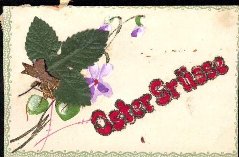 289585,Material Karte Handgemacht Ostergrüße Blatt aufgeklebt