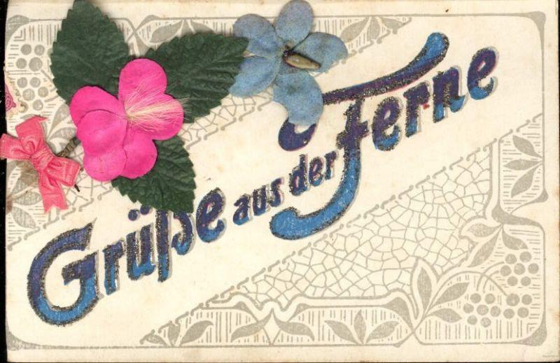 289586,Material Karte Handgemacht Grüße a. d. Ferne Blatt Blüte Schleife aufgeklebt