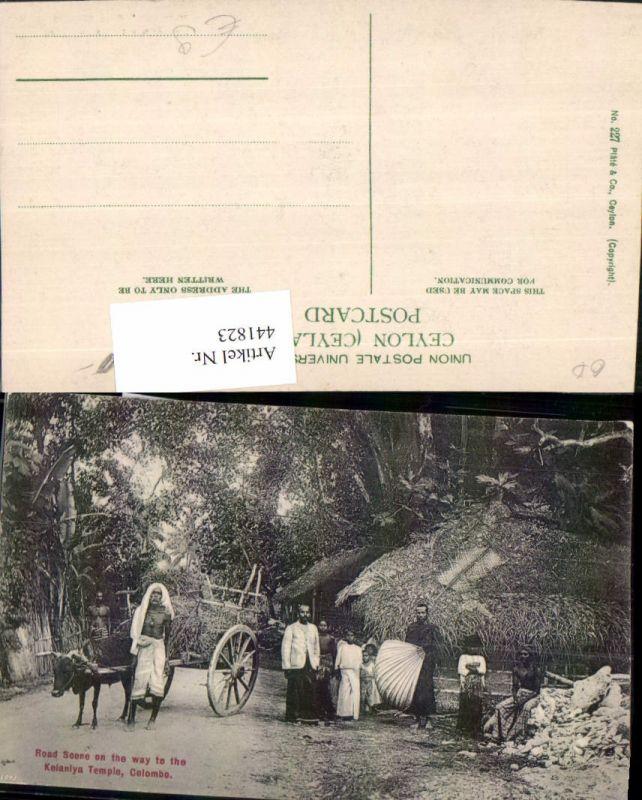 441823,Ceylon Sri Lanka Colombo Kelanlya Temple Road Scene Volkstypen