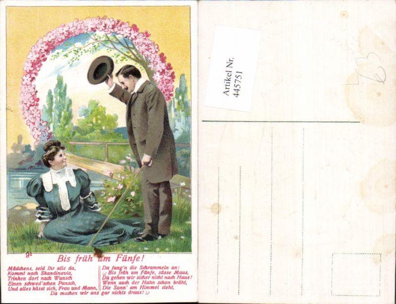 445751,Präge Litho Bis früh um Fünfe Paar Liebe Rosen Blumen Spruch Text