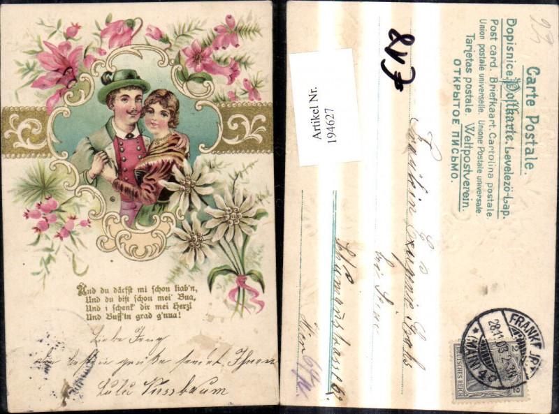 194627,Liebe Präge Litho Paar Umarmunng Blumen Spruch