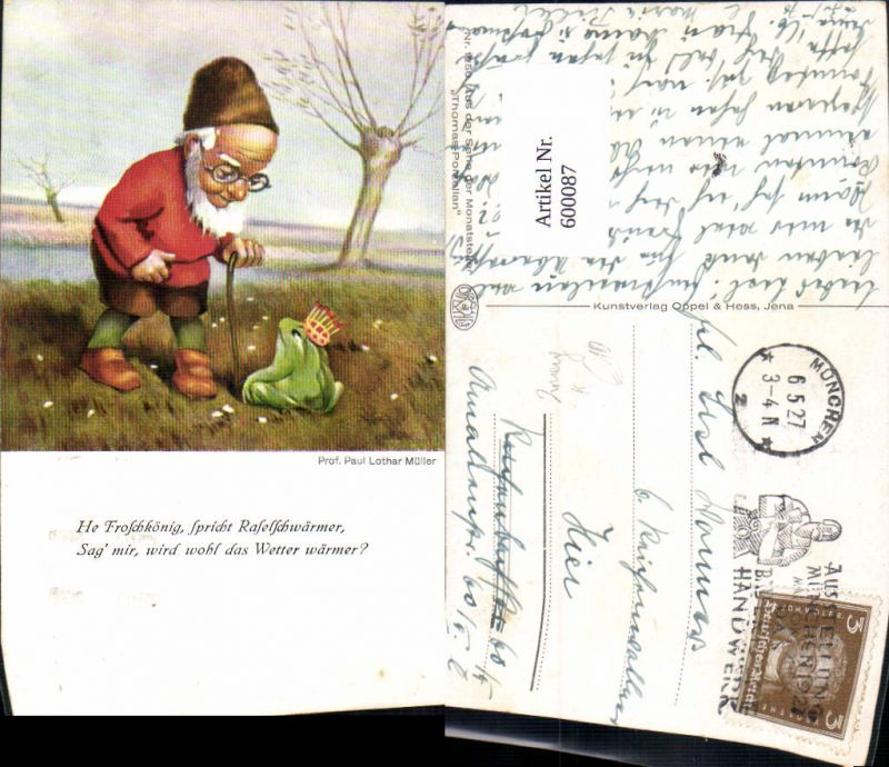 600087,Künstler Ak Prof. Paul Lothar Müller Froschkönig Märchen Zwerg Frosch 0
