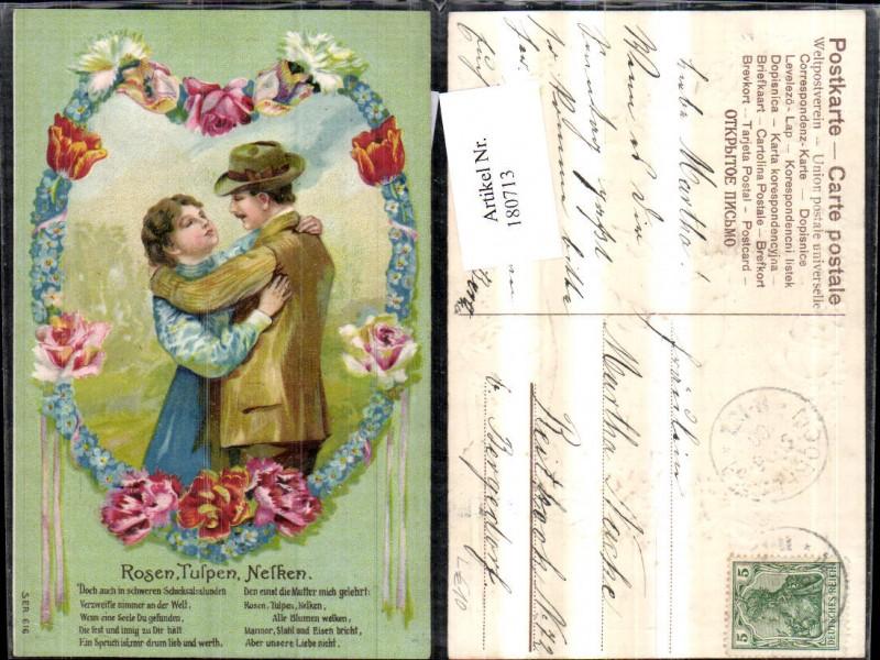 180713,Liebe Präge Litho Rosen Tulpen Nelken Spruch Blumenherz Paar Umarmung  0