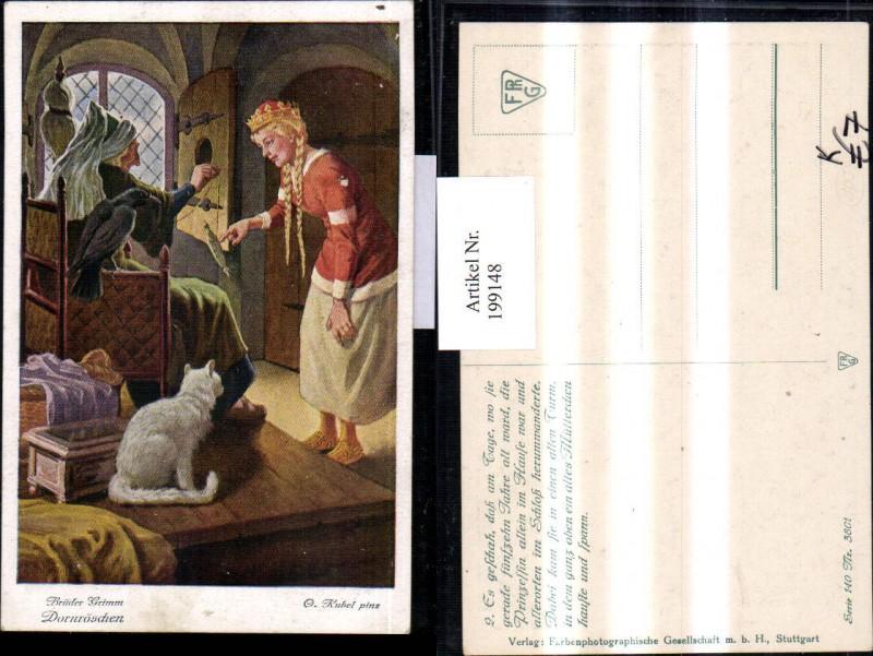 199148,Künstler AK O. Kubel Brüder Grimm Märchen Dornröschen Katze Raabe