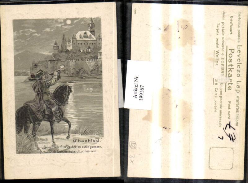 199167,Litho Präge AK Trompeter von Säckingen Märchen Abschied Trompete Pferd Mondschein