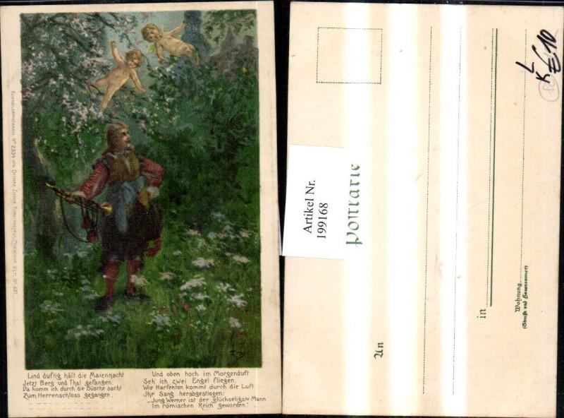 199168,Litho Präge AK Künstler F. B. Trompeter von Säckingen Märchen Gedicht Trompete Engel pub Zieher 2334 0
