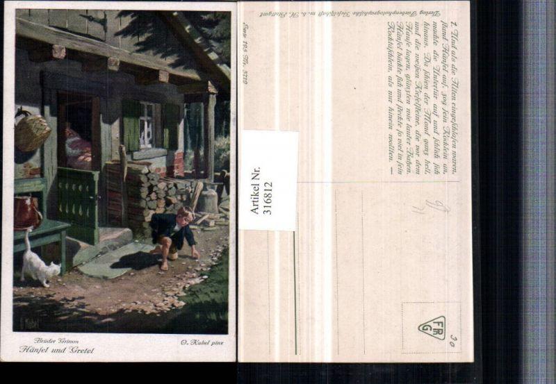 316812,Künstler AK O. Kubel Brüder Grimm Märchen Hänsel u. Gretel Holzhütte Katze