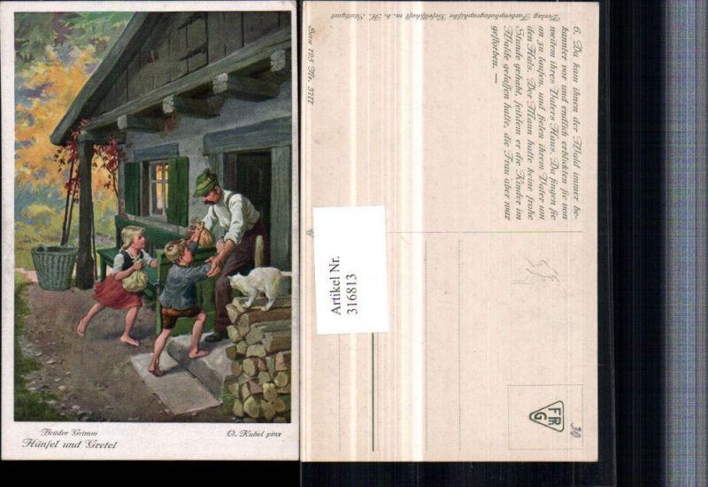 316813,Künstler AK O. Kubel Brüder Grimm Märchen Hänsel u. Gretel Säcke Hütte Katze