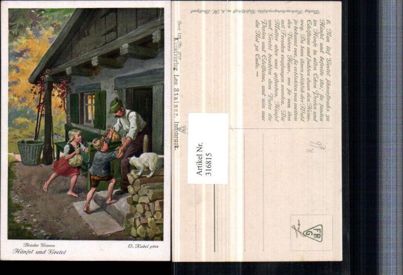 316815,Künstler AK O. Kubel Brüder Grimm Märchen Hänsel u. Gretel Säcke Hütte Katze