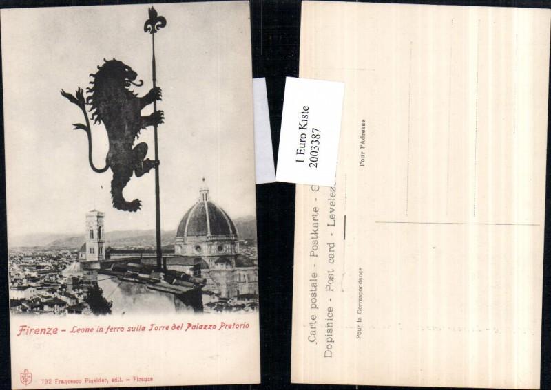 2003387,Firenze Florenz Leone in ferro sulla Torre del Palazzo Pretorio Löwe