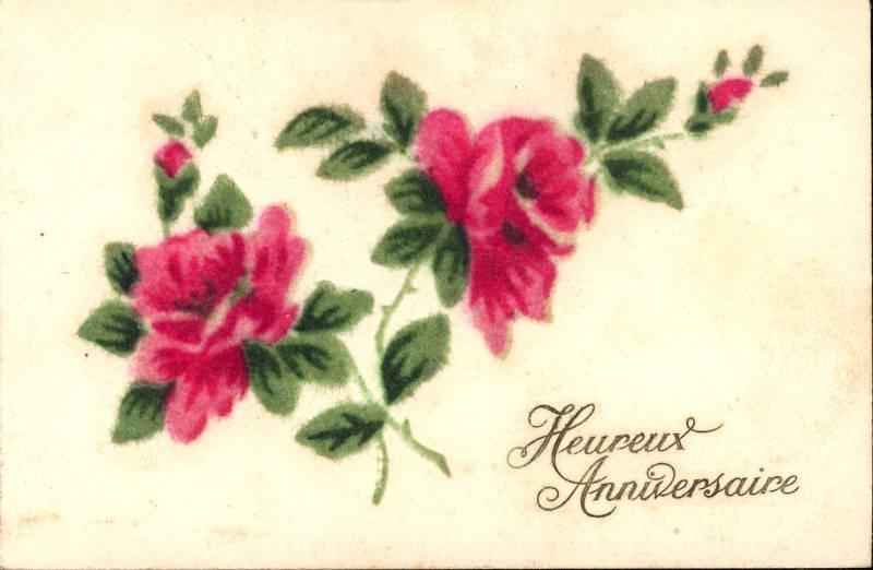 320501,Material Karte Rote Rosen Blumen Heureux Anniversaire