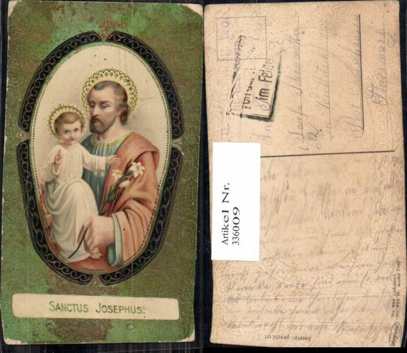 336009,Präge Litho Santus Josephus m. Jesuskind Goldverzierung Religion