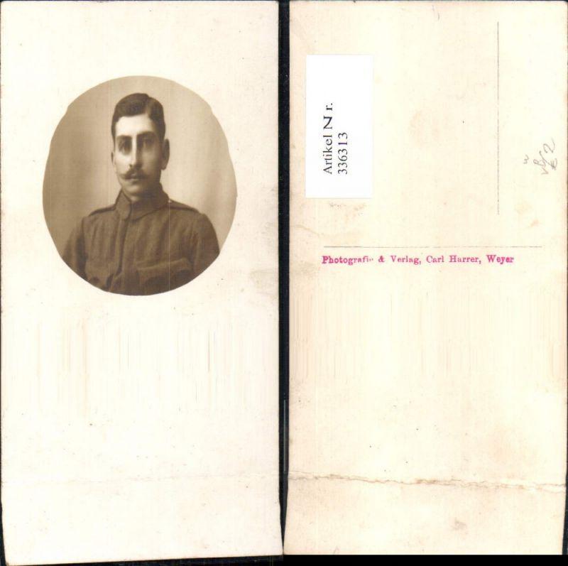 336313,Foto Ak Mann Soldat Uniform Portrait Passepartout pub Carl Harrer Weyer