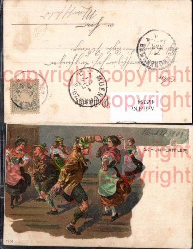 465354,Künstler Litho Männer Frauen Schuhplattler Tanzen Tracht Brauchtum