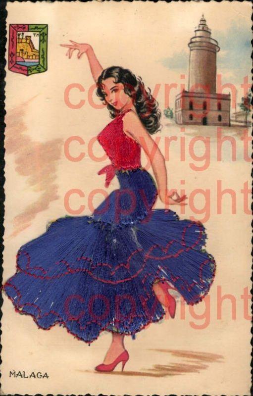 465375,Material Ak Stoff Frau Bestickt Malaga Tanzen Volkstypen Spanien