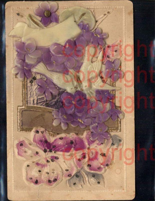 465380,Material Ak Taube Handgemacht Relief aufgeklebt Blumen