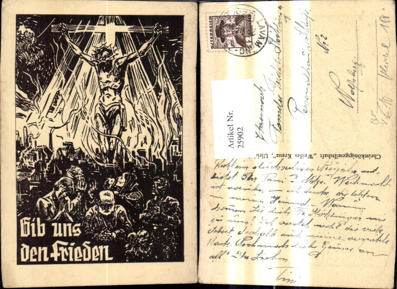 25902,Religion Gib uns Frieden pub Christkönigsgesellschaft Weißes Kreuz Bahnpost Zug 325 Lavamünd Zeltweg 0