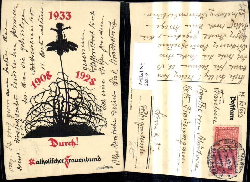 26219,Religion Künstler A Georg Plischke Scherenschnitt Kind Blumen Dornen 1933 Durch Katholischer Frauenbund  0