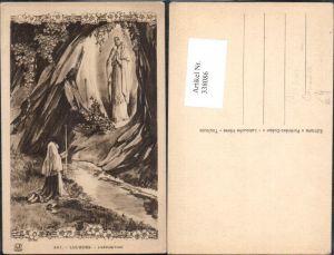338086,Künstler Ak Lourdes L Apparition Jungfrau Erscheinung Bernadette Religion
