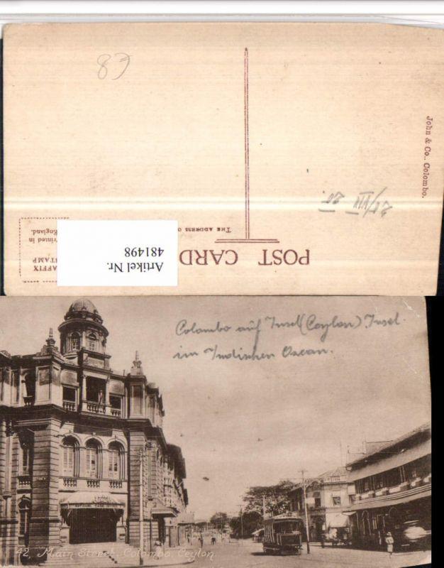481498,Ceylon Colombo Main Street Straßenansicht Straßenbahn