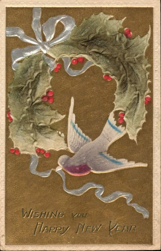 338990,Material Ak Stoff Samt Stechpalmen Blatt Schwalbe Schleife Happy New Year Neujahr