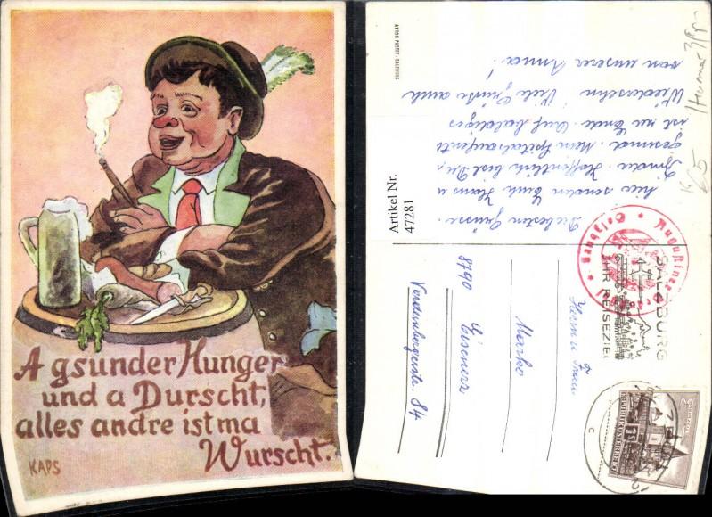 47281,Künstler Ak Kaps Mann m. Bier Bierkrug Jause Wurst Rettisch Rauchen Zigarre Spruch Text