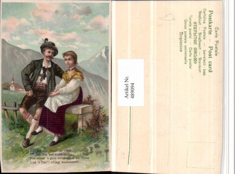 489094,Präge Künstler Litho Liebe Paar Tracht Spruch