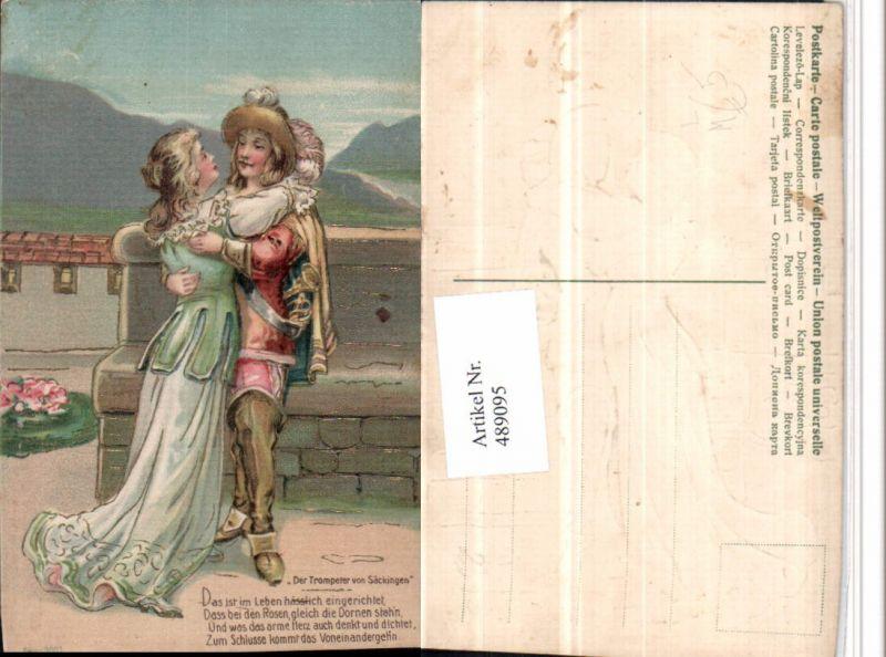 489095,Präge Künstler Litho Liebe Paar Trompeter von Säckingen Spruch