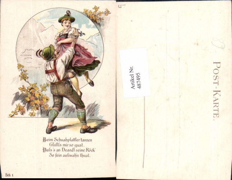 487495,Präge Litho Paar Tracht Tanzen Schuhplattler Spruch