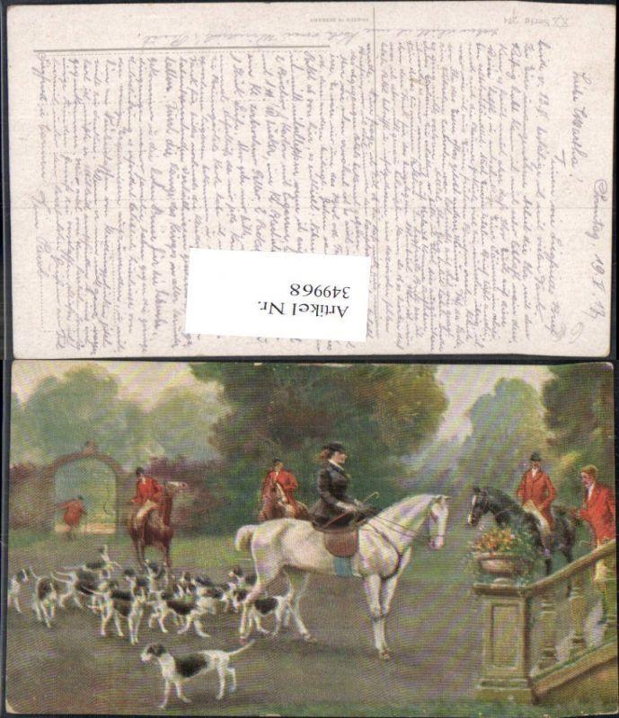 349968,Künstler Ak Jagd Fuchsjagd Hunde Jäger a. Pferde