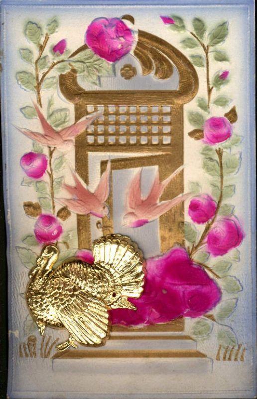 355553,Material Ak Relief Satin Blumen Truthahn befestigt Thangsgiving