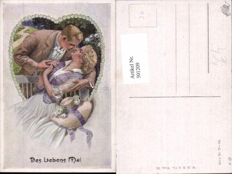 501209,Künstler Ak M. Schubert Des Lebens Mai Paar Liebe Kuss Rosen
