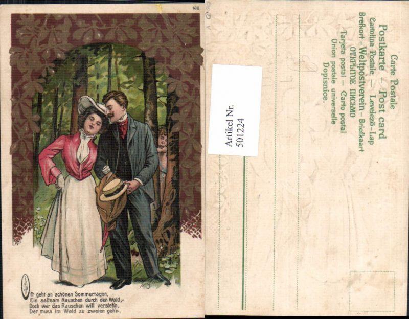 501224,Präge Litho Paar Liebe Amor Spruch Text