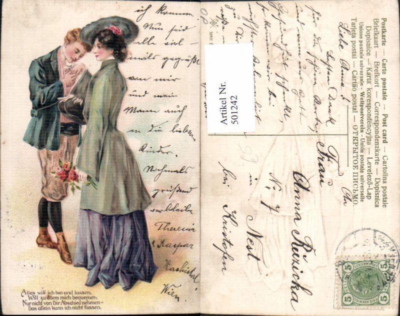 501242,Präge Litho Paar Liebe Handkuss Blumen Spruch Text