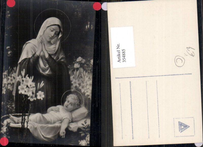 354885,Künstler Ak Madonna m. Kind Jesuskind Wiege Blumen Lilien Religion pub NPG 22