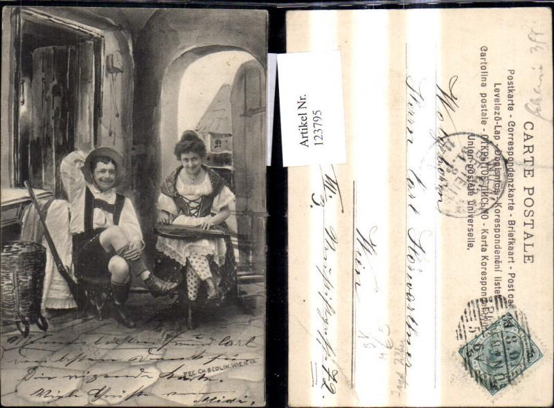 123795,Jagd Jäger Frau m. Zither Musik Gewehr pub Scolik Wien