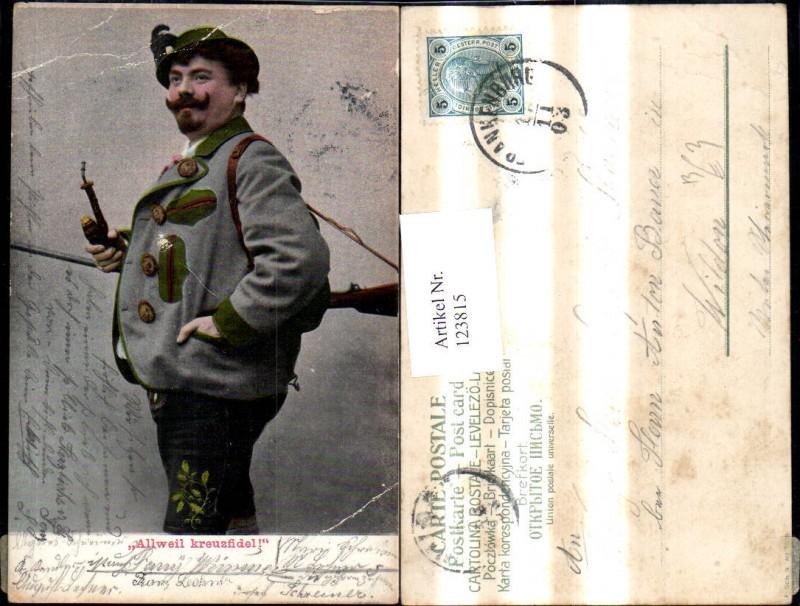 123815,Jagd Jäger m. Pfeife Gewehr Allweil kreuzfidel